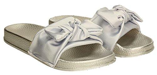 SWANKYSWANS Slip Bohemian Summer Sandals on Satin Black Womens Grey Sliders Flat Bow Beni Slides P07gBS