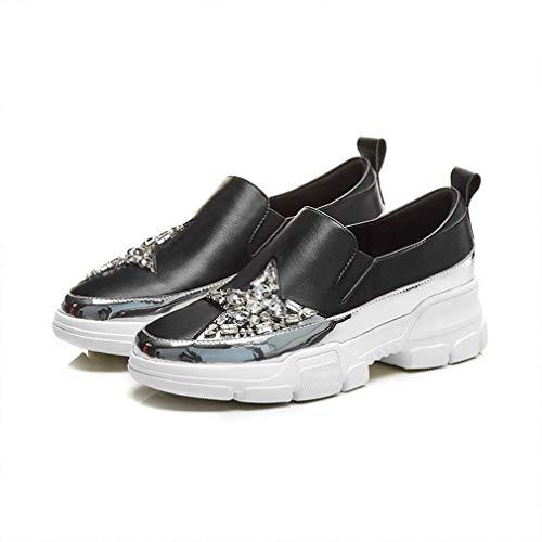 Strass Nero Sneakers Yan Tempo Sportive Deck white top Scarpe Pelle Libero Donna Low Black 35 Rotondo Da In Sport Piatto Bianche wtg1gqnTS