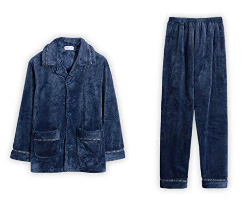 DAFREW Pijamas de los Hombres, Franela de Invierno Gruesa cálida Muebles para el hogar, cómoda Ropa Informal de la Bata de baño (Color : Azul, ...