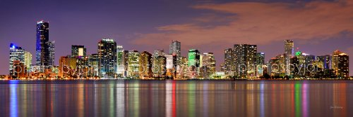 Miami Skyline PHOTO PRINT UNFRAMED DUSK COLOR Downtown City 11.75 inches x 36 inches Photographic Panorama Poster Picture Standard - Stores Downtown Miami