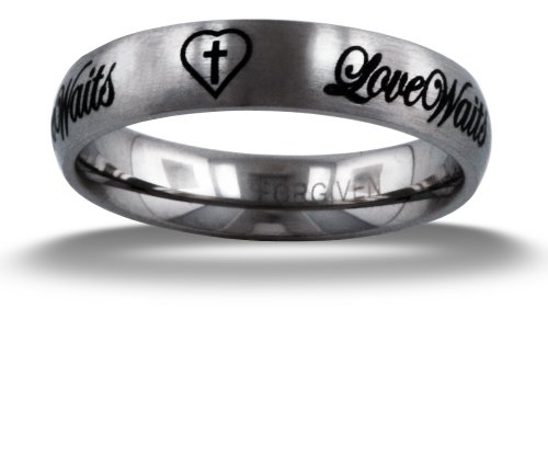 RSLW Forgiven Jewelry-Love Waits Cursive Purity Band Stainless Steel Ring size 6-Christian Jewelry (Purity Rings For Teens compare prices)