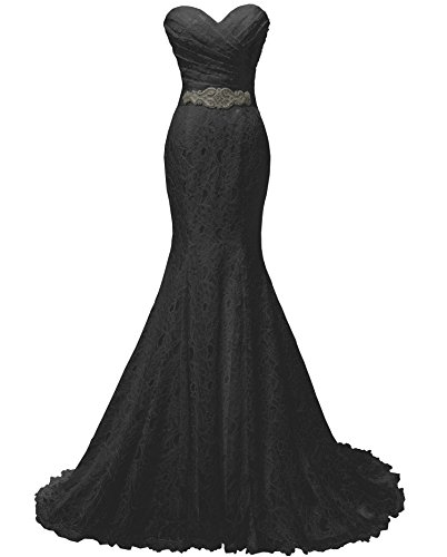 SOLOVEDRESS Women's Lace Wedding Dress Mermaid Evening Dress Bridal Gown With Sash (US 12,Black) (Black Wedding Dress)