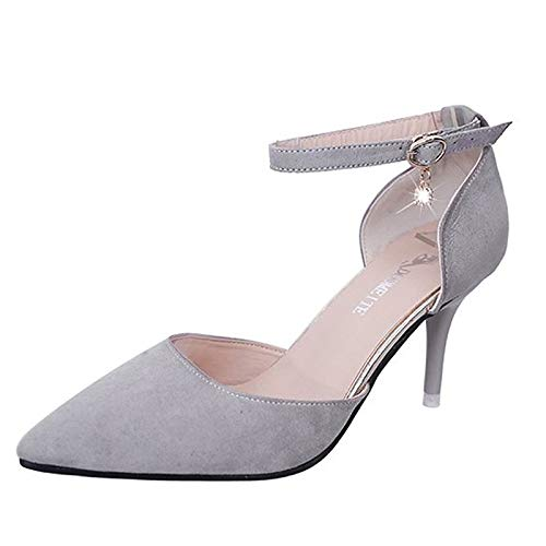 Heels D'Orsay Rosa Gray Summer amp; Estrecha Heel de Poliuretano Mujer Punta Zapatos Two Stiletto Piece ZHZNVX PU Gris Amarillo xvHwU