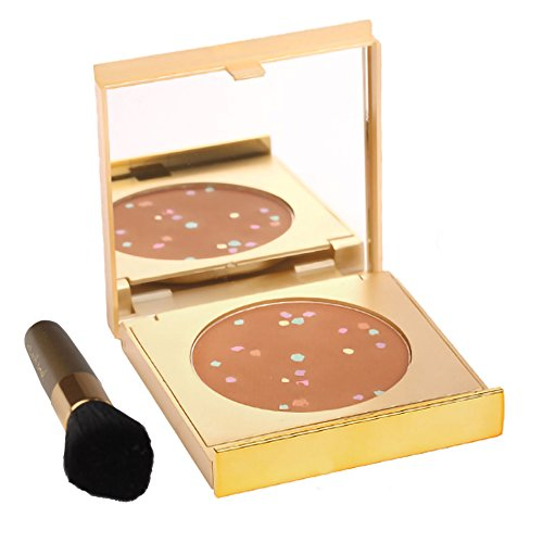 MagicMinerals Gold Edition by Jerome Alexander - Mineral Powder Compact with Mirror, Blending Sponge and Mini Stubby Brush - Foundation, Concealer and Corrector All-In-One - Dark