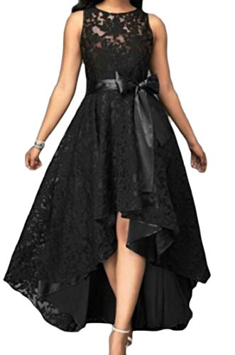 (Jotebriyo Women's Sleeveless Lace Belted Fashion High Low Party Cocktail Dress Black XL)