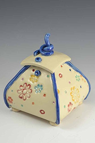Ceramic, Multi-color Floral aged / antiqued lidded vessel / box, ()