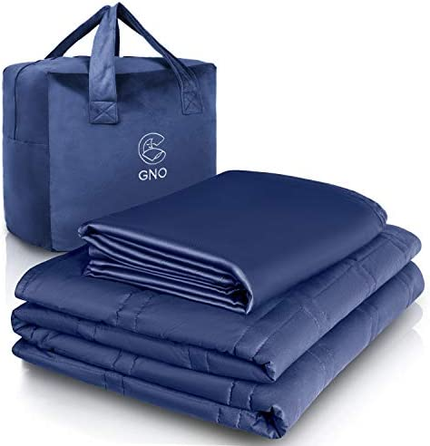 GnO Adult Weighted Blanket & Removable Bamboo Cover - (25 Lbs - 80''x87'' King Size) - 100% Oeko Tex Certified Cooling Cotton & Glass Beads- Organic Heavy Blanket For Individual Or Couples - Navy Blue