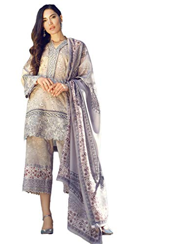 IshDeena Pakistani Designer Lawn & Chiffon Dresses for Women Ready to Wear Salwar Kameez (Large, Pink Lavender - Tena Durrani)