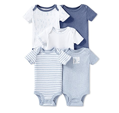 Lamaze Baby Organic Essentials 5 Pack Shortsleeve Bodysuits, Blue, NB