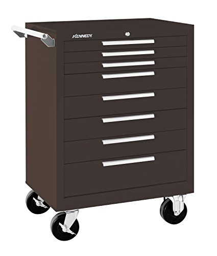 "Kennedy Manufacturing 378Xb 27"" 8-Drawer Industrial Tool Storage Roller Cabinet With Chest And Wheels, Tan Brown Wrinkle"
