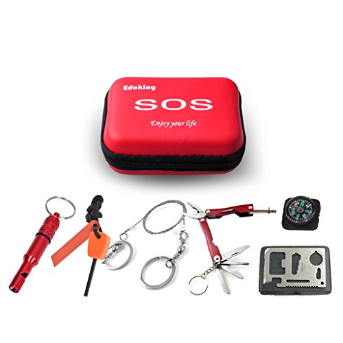 Edoking Emergency Survival SOS Kit,Edobil Camping Tools Kit, Multi Functional Pocket Tool for Outdoor,Home,Car(Red)