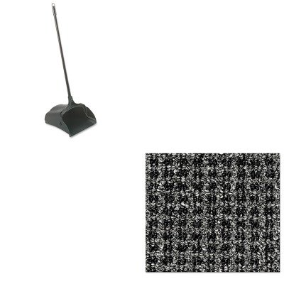 KITCWNOXH046GYRCP253100BK - Value Kit - Crown Oxford Wiper Mat (CWNOXH046GY) and Rubbermaid-Black Lobby Pro Upright Dust Pan, Open Style (RCP253100BK) by Crown (Image #1)