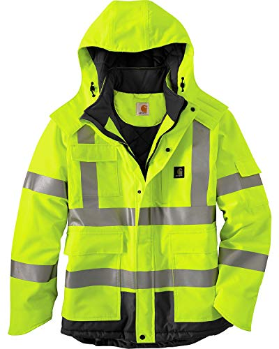 Carhartt Men's High Vis Waterproof Class 3 Insulated Sherwood Jacket,Brite Lime,Large (Safety Rain Jacket Mens)