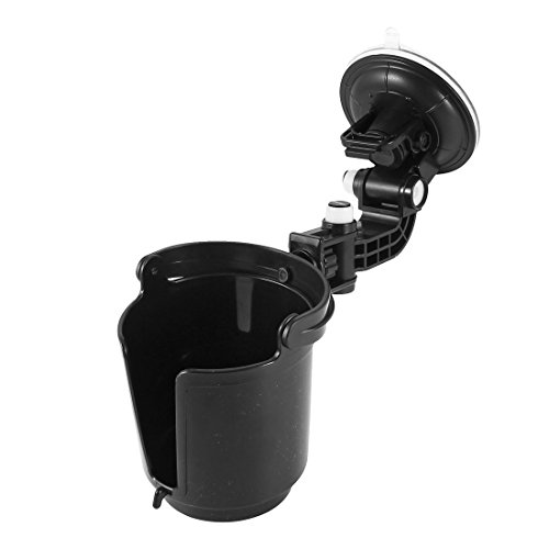 uxcell Car Black Plastic Drink Can Bottle Adjustable Holder w Suction Cup