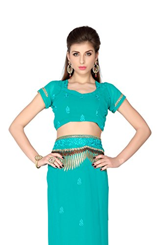 Bollywood-Womens-Indian-Ethnic-Designer-Turquoise-color-Faux-Georgette-Party-Wedding-Sarees-With-Saree-Blouse-Unstitched