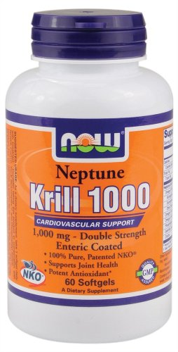 NOW Foods - Neptune Krill 1000 Cardiovascular Support Enteric Coated Double Strength 1000 mg. - 60 Softgels ( Multi-Pack) by NOW Foods
