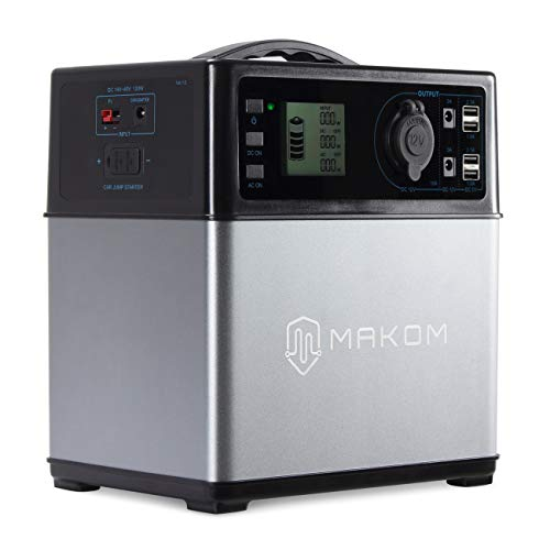 MAKOM 400Wh Power Source Supply Generator 300W Pure Sine Wave, Lithium Ion Charged by Solar Panel AC Outlet Cars