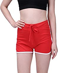 Hde Women's Retro Fashion Dolphin Running Workout Shorts (Red, Medium)