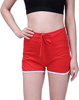 Hde Women's Retro Fashion Dolphin Running Workout Shorts (Red, Medium) 0