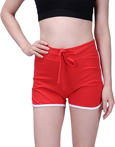 HDE Women's Retro Fashion Dolphin Running Workout Shorts (Red, XX-Large)