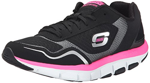 Skechers Women's Liv High Line Fashion Sneaker, Black/Hot Pink, 7 M US