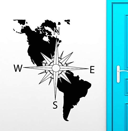 haotong11 Brújula Vinilo Tatuajes de Pared América Continente Mapa ...
