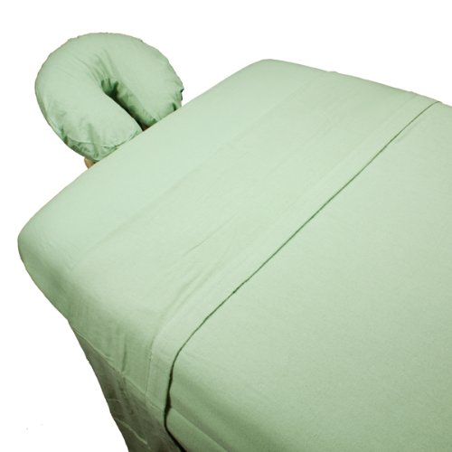 3-Piece Flannel Massage Sheet Set By Body Linen - Super Soft & Durable 100% Cotton Double-Brushed Flannel - Extra-Large Sheet For Optimum Coverage and Fits Standard Size Tables and Face Cradles {Sage}