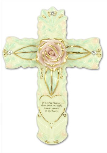 BANBERRY DESIGNS Sympathy Cross Porcelain in Loving Memory - Gone from Our Sight Forever Present in Our Hearts