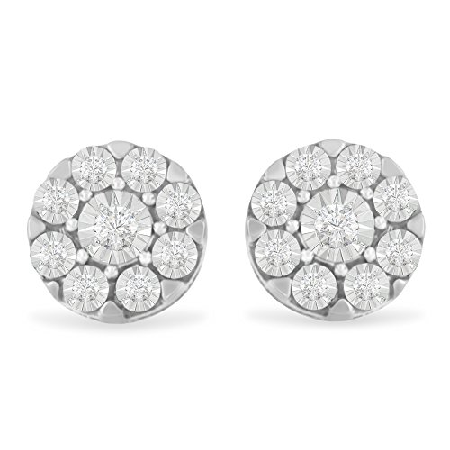 Diamond Floral Stud (Sterling Silver Rose-cut Diamond Floral Cluster Stud Earring (0.2 cttw, I-J Color, I2-I3 Clarity))