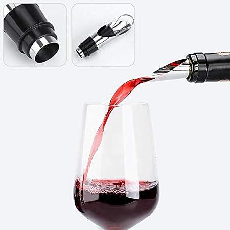 N\O CYJZHEU Juego de Sacacorchos, Set Accesorios para Vino Tapones de Botellas de Vino de Vino y Sacacorchos Dosificador y Recogegotas de Acero Inoxidable Redonda Anillo de Vino con Caja, (4 Piezas)
