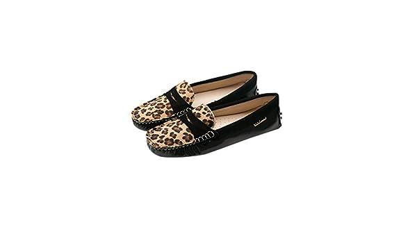 Spades & Clubs Mocasines de Piel para mujer Amarillo Leopard Print/Yellow: Amazon.es: Zapatos y complementos