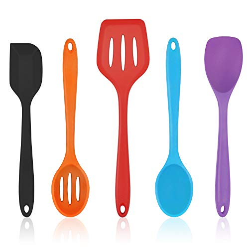 Homikit 5-Piece Kitchen Cooking Utensils Set, Colorful Silicone Slotted Turner Spatula Spoons for Nonstick Cookware, Dishwasher Safe Kitchen Tools for Cooking and baking