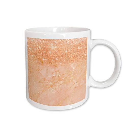 3dRose Uta Naumann Faux Glitter Pattern - Image of Trendy Chic Rosegold and Peach Metal Foil Glitter Marble - 15oz Two-Tone Black Mug (mug_310944_9)