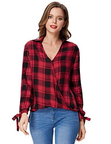 Kate Kasin Scottish Plum Plaid Shirt Wrap V Neck Long Sleeve Blouse Top ()