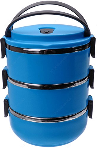 Stackable Lunch Box - Round Three Tier Tiffin with Vacuum Seal Lid and Stainless Steel Interior, 6-Cups, Blue