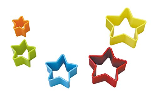 R&M International 1760 Star Cookie and Biscuit Cutters, Assorted Sizes, Bright Colors, 5-Piece Set