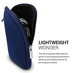 kwmobile Neoprene Phone Pouch Size L – 6.5″ – Universal Cell Sleeve Mobile Bag with Zipper, Wrist Strap – Dark Blue
