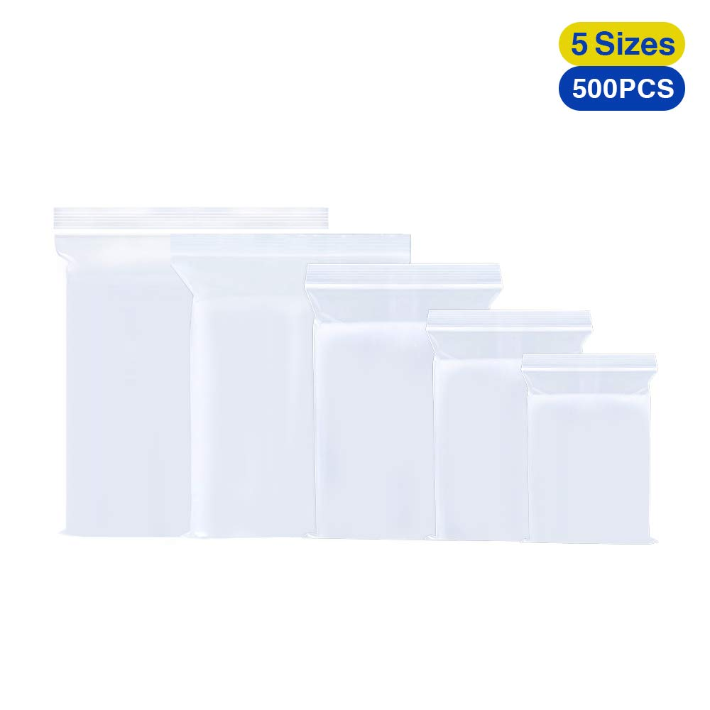 Small Plastic Grip Seal Clear Poly Bags Resealable Zip Lock Medium /& Large