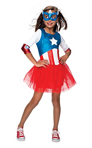 Captain Marvel Girl Costume (Rubie's Marvel Universe Classic Collection Metallic American Dream Costume, Child Small)