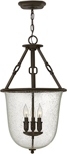 Hinkley 4783OZ Rustic Three Light Foyer from Dakota collection in Bronze/Darkfinish, - Dakota Collection Chandelier Light Fixture