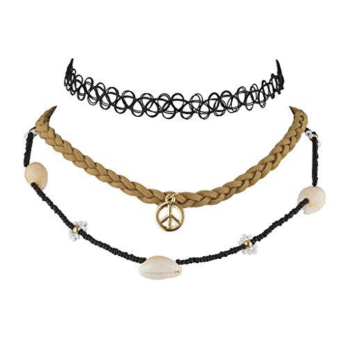 Hippie Shell Necklace (Lux Accessories Hippie Peavey Choker Set (3PC))