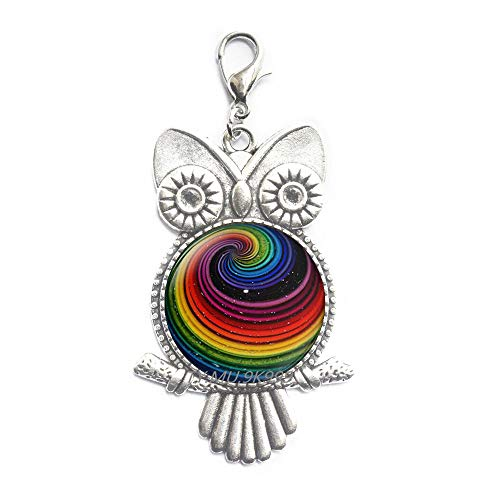 Yao0dianxku Rainbow Owl Zipper Pull,Pride Rainbow Owl Zipper Pull,Rainbow Art Jewelry,Rainbow Lobster Clasp,Rainbow Art Gift.Y216
