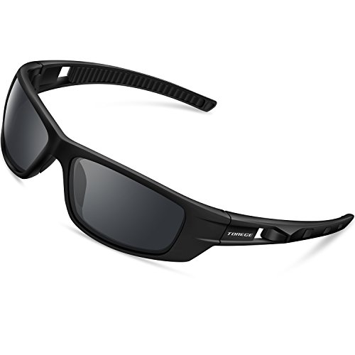 Torege Polarized Sports Sunglasses For Man Women Cycling Running Fishing Golf TR90 Unbreakable Frame TR040 (Black&Black&Gray - Cycling Sunglasses Sale