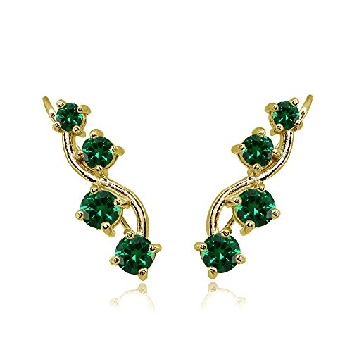 Gold Flash Sterling Silver Simulated Emerald Vine Climber Crawler Earrings for Women