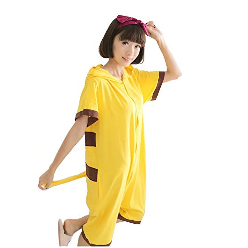 Yimidear Unisex Pikachu Costume Summer Cute Cartoon Cotton Pajamas Animal Onesie,Pikachu,Large by Yimidear (Image #1)