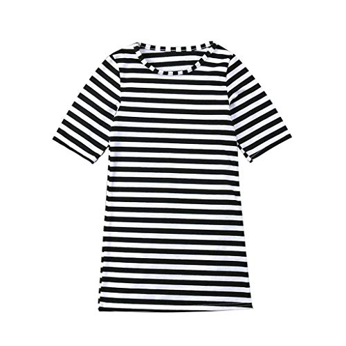 Mother and Baby Girl Round Neck Boho Midi Stripe Dress Family Clothing Shirts Beach Travel Dresses Toponly ()