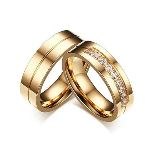 Stainless Steel 18k Gold Plated Wedding Engagement Band Couple Ring - 5