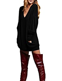 Women's Sexy Solid V Neck Long T-shirt