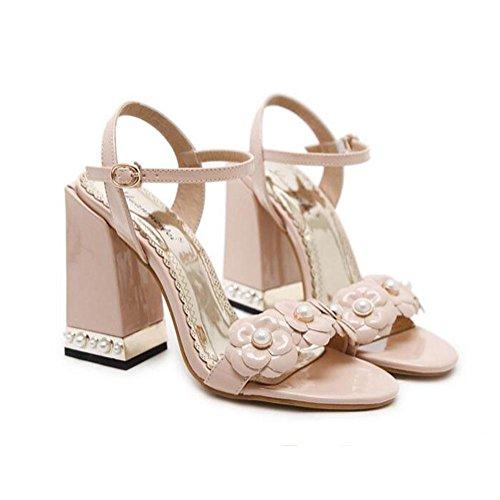 Chaussures Apricot Talons Hauts Buckle One Word Printemps Cool Fleurs Xdgg Sandales 2018 Femmes Bout Été Rugueux Et Antidérapantes Prom Nouveau Ouvert Party z84qFn1x6