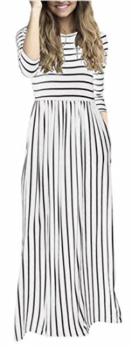 3 8 Maxi Swing Round Sleeve Stripe Jaycargogo Casual Neck Dress Womens 4 Long FqSwxI7